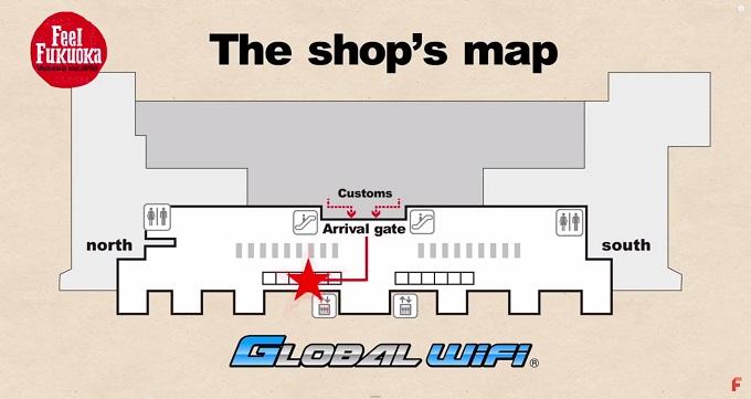 FFJ 国際線ターミナル1FのGLOBAL Wi-Fiショップ地図